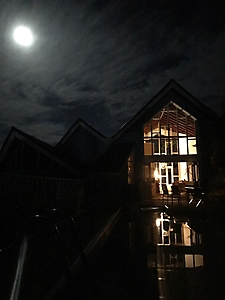 Full moon looking at the house